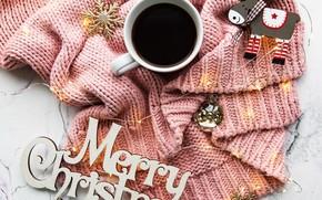 Картинка зима, новый год, кофе, чашка, Украшение, свитер, гирляда, Olena Rudo