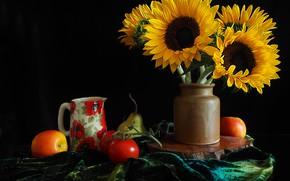 Картинка подсолнухи, яблоки, ваза, груша, кувшин, фрукты, овощи, помидоры, черный фрн