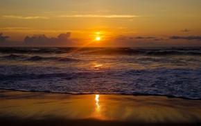 Картинка пляж, закат, вечер