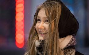 Картинка зима, девушка, снег, радость, улыбка, Виталий Вахрушев