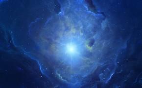 Картинка Звезды, Космос, Туманность, Звезда, Свет, Fantasy, Арт, Stars, Space, Блик, Art, Фантастика, Nebula, Fiction, StarkitecktDesigns, ...