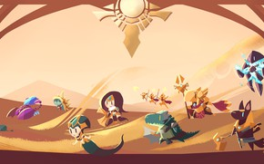 Картинка пустыня, фэнтези, арт, существа, малыши, League of Legends, Лига легенд