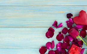 Картинка подарок, розы, лепестки, сердечки, красные, red, love, wood, flowers, romantic, hearts, valentine's day, petals, roses, …