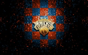 Картинка wallpaper, sport, logo, basketball, NBA, New York Knicks, glitter, checkered