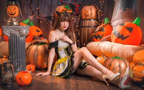 Картинка девушка, тыквы, Хеллоуин, азиатка, милашка, 31 октября