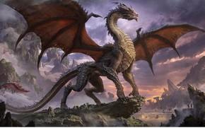 Картинка люди, скалы, дракон, крылья, мощь, арт, пасть, фэтези