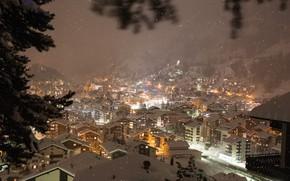 Картинка Зима, Горы, Ночь, Снег, Швейцария, Городок, Winter, Switzerland, Night, Snow, Mountains, Town
