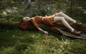 Картинка лес, веснушки, ножки, рыжеволосая, Fiyah Макс, Into the woods