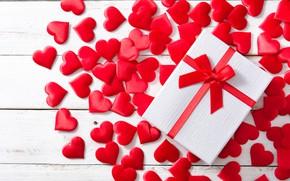 Картинка коробка, подарок, лента, сердечки, красные