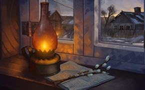 Картинка art, houses, window, painting, lamp, branches, homes, illustration, newspaper, 4k uhd background, still life photography