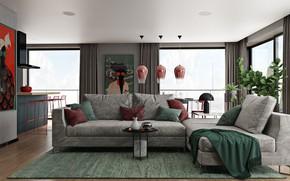 Картинка дизайн, стиль, интерьер, кухня, гостиная, столовая