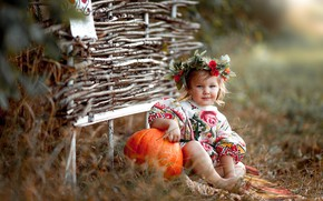 Картинка осень, трава, природа, платье, девочка, тыква, венок, ребёнок, плетень, Максим Чурляев