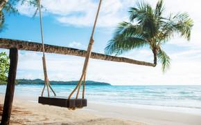 Картинка песок, море, пляж, лето, пальмы, summer, beach, sea, sand, paradise, palms, tropical