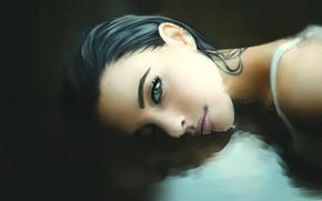 Картинка Вода, Девушка, Губы, Girl, Арт, Beautiful, Sexy, Art, Baby, Eyes, Секси, Красивая, Characters, by Sofie …
