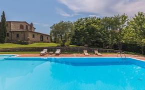 Картинка вилла, бассейн, Италия, архитектура, терраса, Tuscany, 18th century, Villa Dell Angelo