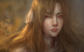 Картинка взгляд, девушка, лицо, портрет, арт, Asuna Yuuki, Асуна Юки, Мастера Меча Онлайн: Алисизация, Sword Art …