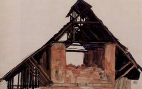 Картинка 1913, Старый кирпичный дом, Эгон Шиле
