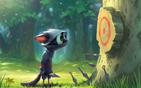 Картинка трава, взгляд, дерево, мишень, Ninja Cat