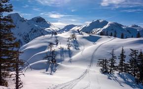 Картинка зима, солнце, снег, горы, Австрия