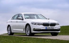 Картинка белый, газон, BMW, седан, сбоку, гибрид, 5er, четырёхдверный, 2017, 5-series, G30, 530e iPerformance