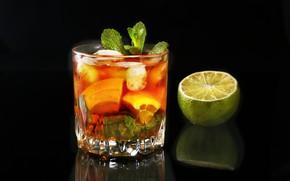 Картинка лед, стакан, алкоголь, коктейль, лайм, мята