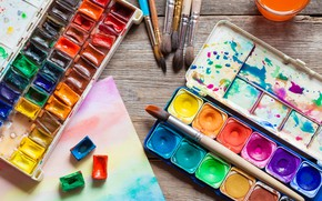 Картинка краски, арт, акварель, кисть, кисти, рисование