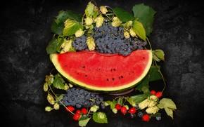 Обои природа, настроение, красота, арбуз, виноград, ваза, фрукты, корзинка, красивые, beautiful, китайка, beauty, harmony, обои на ...