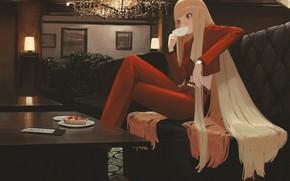 Картинка девушка, чай, пирог, длинные волосы