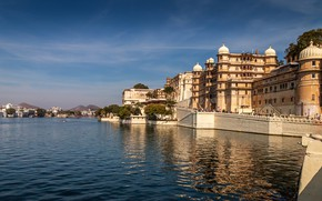 Картинка река, дома, Индия