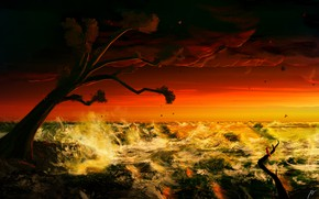 Картинка Закат, Океан, Море, Дерево, Рисунок, Волны, Шторм, Fantasy, Art, Tree, Storm, Sunset, Ocean, Sea, Waves, …