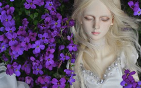 Картинка цветы, волосы, кукла, блондинка