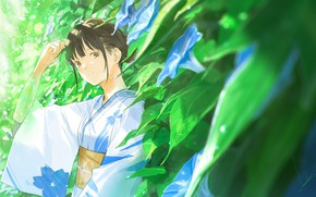 Картинка листья, капли, японка, кимоно, чёлка, вьюнки, летний дождь, by Loundraw