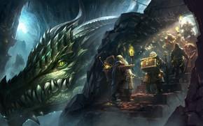 Картинка золото, дракон, гора, фэнтези, арт, гномы, факел, логово, lineage_antharas, Kim Sung Hwan