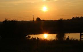 Картинка закат, озеро, отражение, Беларусь, моё фото, Сухари