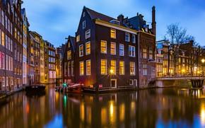 Картинка мост, здания, дома, Амстердам, канал, Нидерланды, Amsterdam, Netherlands