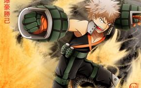 Картинка аниме, арт, парень, Boku no Hero Academia, Моя геройская академия, Бакуго Катсуки, боевой костюм
