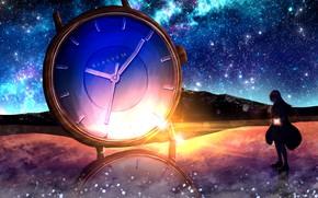 Картинка лед, девушка, космос, горы, часы
