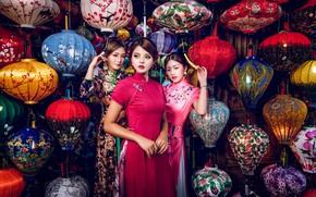 Картинка стиль, азиатки, трио, девушки, фонарики, модели