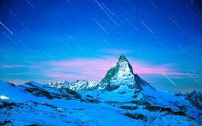 Картинка Зима, Горы, Ночь, Звёзды
