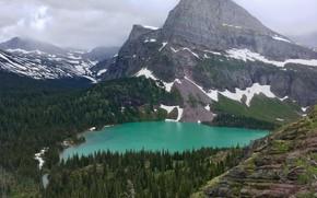 Картинка лес, небо, горы, тучи, природа, озеро, скалы, США, Rocky Mountain National Park, Dream Lake