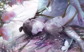 Картинка девушка, бабочки, сакура, парень, спят, by icelog