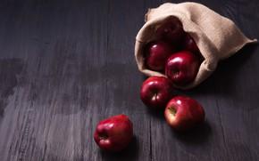 Обои яблоки, красные, red, фрукты, wood, fruit, apples