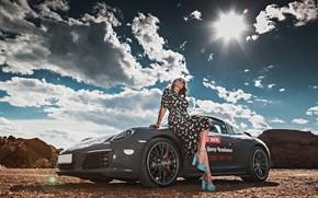 Картинка небо, солнце, облака, пейзаж, поза, модель, макияж, фигура, платье, прическа, шатенка, автомобиль, Anton Harisov, Антон …