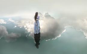 Картинка девушка, облака, стиль, отражение, роза, платье, фэнтези, образ, водоем, фотоарт, Kindra Nikole