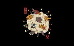 Картинка Минимализм, Дракон, Стиль, Драка, Фон, Fantasy, Dragon, Годзилла, Арт, Art, Style, Фантастика, Godzilla, Background, Illustration, …