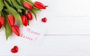 Картинка праздник, пасха, тюльпаны, сердечко, открытка