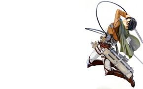 Картинка оружие, прыжок, рисунок, лезвия, арт, тросы, Атака Титанов, Shingeki No Kyojin, Леви Аккерман, Леви, капрал, …