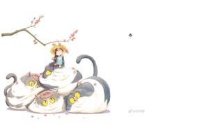 Картинка весна, шляпа, белый фон, венок, длинные волосы, желтые глаза, маленькая девочка, ветка вишни, пучеглазик, цветение …