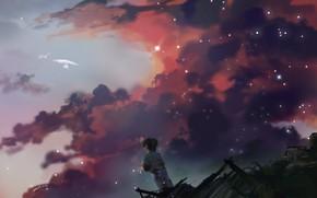 Картинка небо, облака, игрушка, мальчик