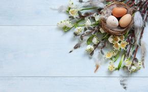 Картинка праздник, яйца, пасха, ландыши, верба